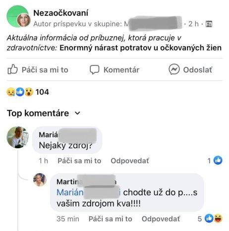 Screenshot z facebookovej skupiny Nezaočkovaní