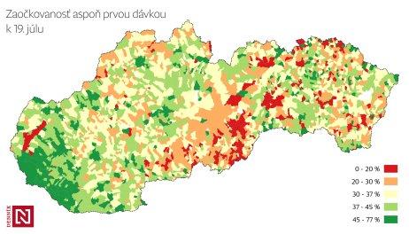 Zaočkovanosť slovenských obcí k 19. júlu 2021. Kartogram – Denník N/Daniel Kerekes, zdroj dát – IZA, ŠÚ, vlastné výpočty.