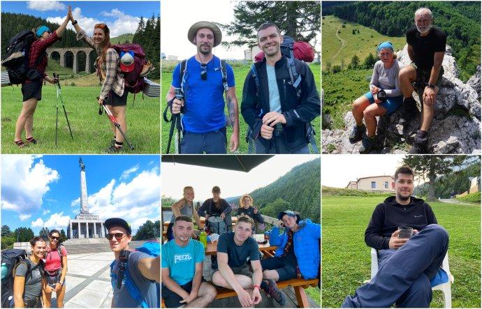 Na Ceste SNP: Tereza, Veronika, Michal, Ľuboš, Elena, Denis, Stanislava, Lucia, Samuel, Patrik s priateľmi a Ľuboš.