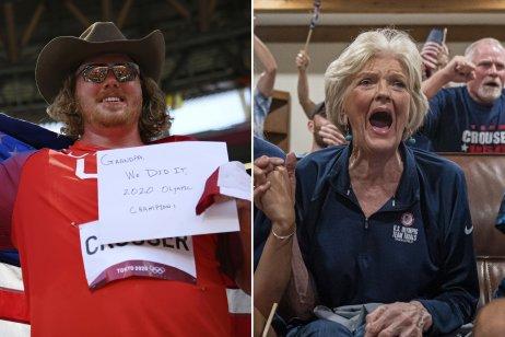 Guliar Ryan Crouser po finále a stará mama Marie pri víťaznom vrhu. Foto – AP