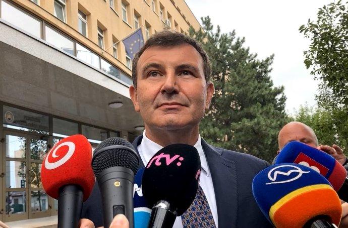 František Imrecze po výsluchu na NAKA. Foto – N
