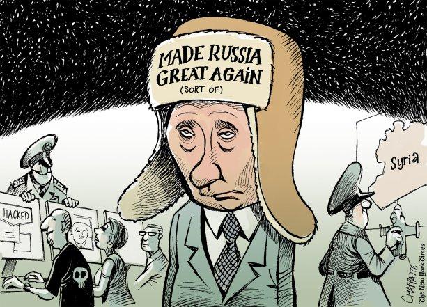 Zdroj ilustrácie: https://www.politico.eu/interactive/donald-trump-fake-news-tweet-russian-hackers-vladimir-putin-cyprus-cartoon/