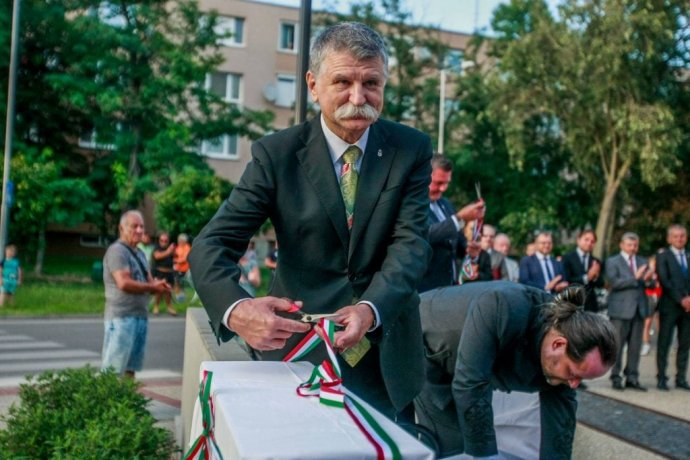 László Kövér v Šamoríne. Foto - Mátyás Szinghoffer / FB mesta Šamorín