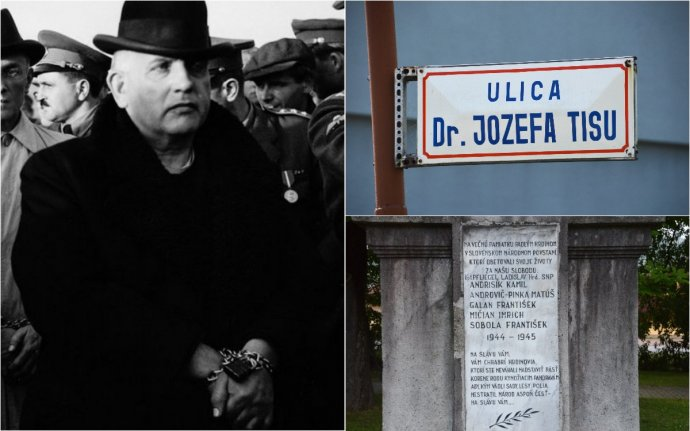 Tisov návrat na Slovensko po úteku na sklonku vojny bol v putách. Vpravo hore názov ulice vo Varíne a dole pamätník obetiam SNP vo Varíne. Foto - TASR
