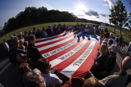 Spomienková akcia v Shanksville v Pensylvánii na mieste, kde sa zrútilo jedno z lietadiel počas útokov z 11. septembra. Foto – TASR/AP