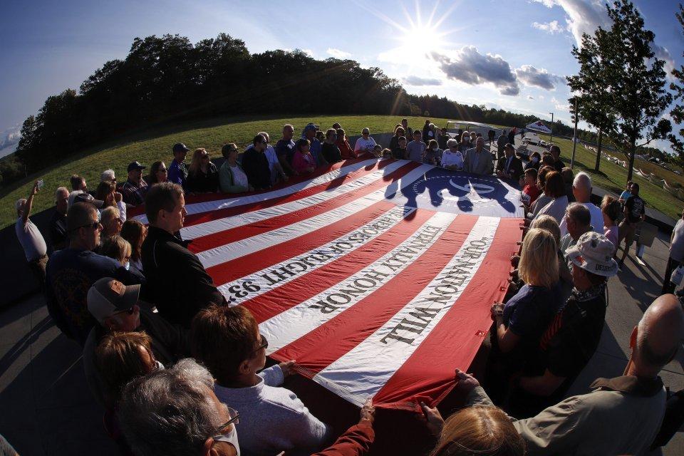 Spomienková akcia v Shanksville v Pensylvánii na mieste, kde sa zrútilo jedno z lietadiel počas útokov z 11. septembra. Foto - TASR/AP