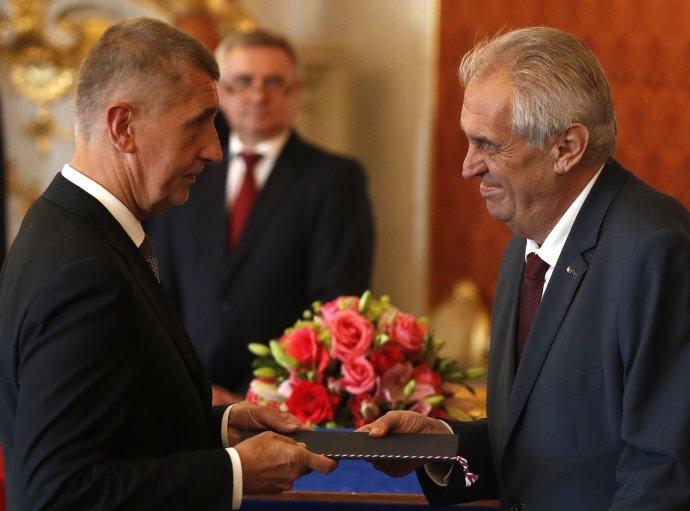 Prezident Miloš Zeman menuje za premiéra Andreja Babiša v roku 2018. Foto - TASR