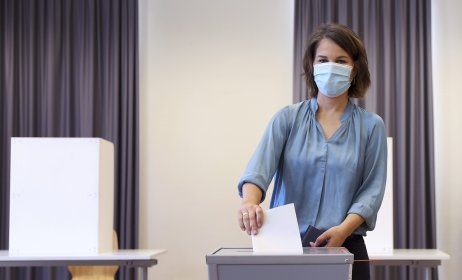 Annalena Baerbocková hlasovala v Postupime. Foto – TASR/AP