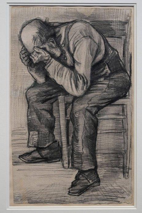 Van Goghova kresba zobrazujúca vyčerpaného sediaceho muža. Foto – tasr/ap
