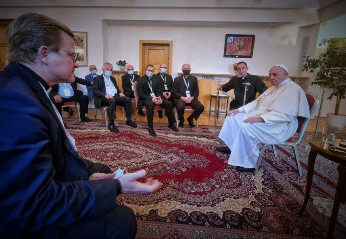 Zo stretnutia pápeža so slovenskými jezuitmi. Zdroj - Martin Halčák