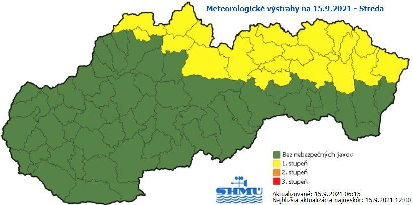 Na severovýchode Slovenska platia výstrahy pred rannou hmlou. Zdroj - SHMÚ