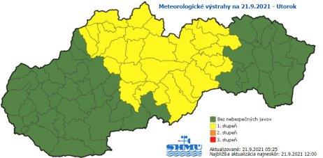 Platia výstrahy pre prízemný mráz a nízke teploty. Zdroj – SHMÚ