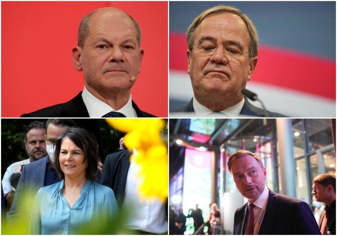 V novej koaličnej vláde zrejme budú tri z týchto štyroch tvárí: Olaf Scholz, Armin Laschet, Annalena Baerbocková a Christian Lindner. Foto - TASR/AP, koláž N