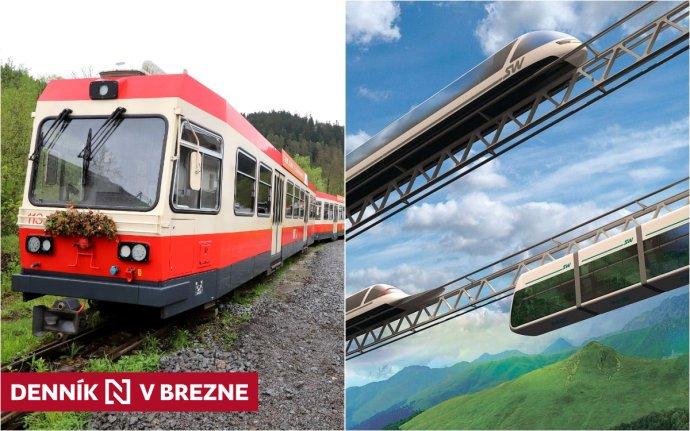 Nové švajčiarske električky na Horehroní a vízia projektu koľajovej dopravy vzduchom. Foto N – Ján Krošlák a SkyWay