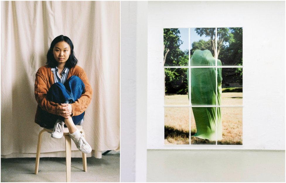Kvet Nguyen na fotografii Zuzany Jakabovej a pohľad do inštalácie výstavy Vzájomná inakosť. Foto - Kvet Nguyen