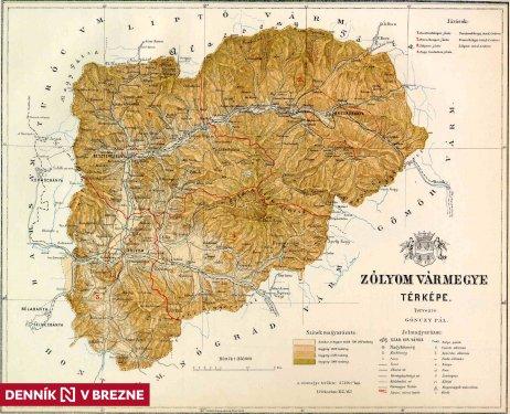 Zvolenská stolica na prelome 19. a 20. storočia. Mapa – Gönczy Pál/Wikipedia