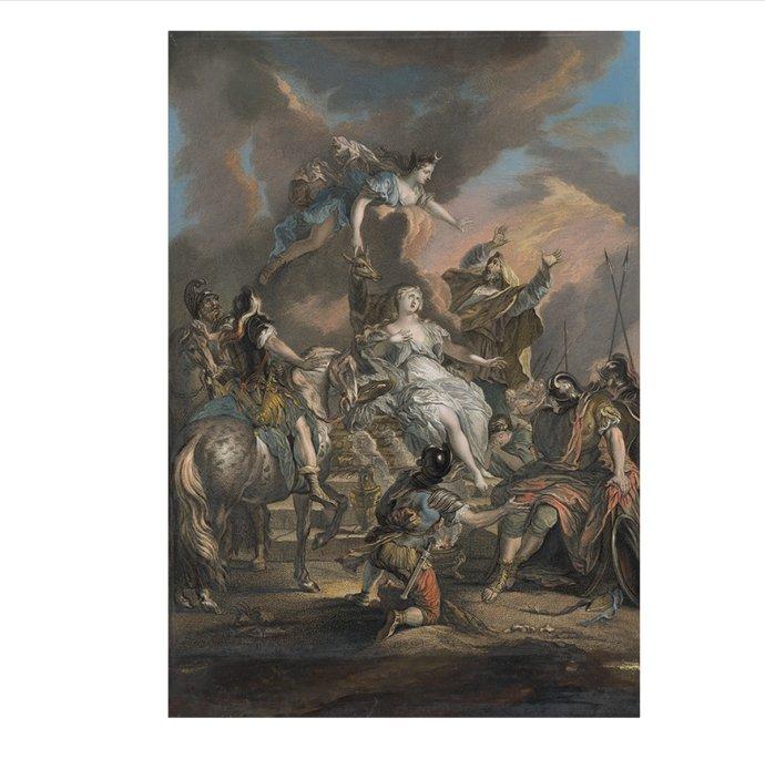 Louise-Magdeleine Horthemels Cochin: Obetovanie Ifigénie (1730, voľná grafika); predloha – Nicolas Bertin: Obetovanie Ifigénie. Reprofoto – GMB