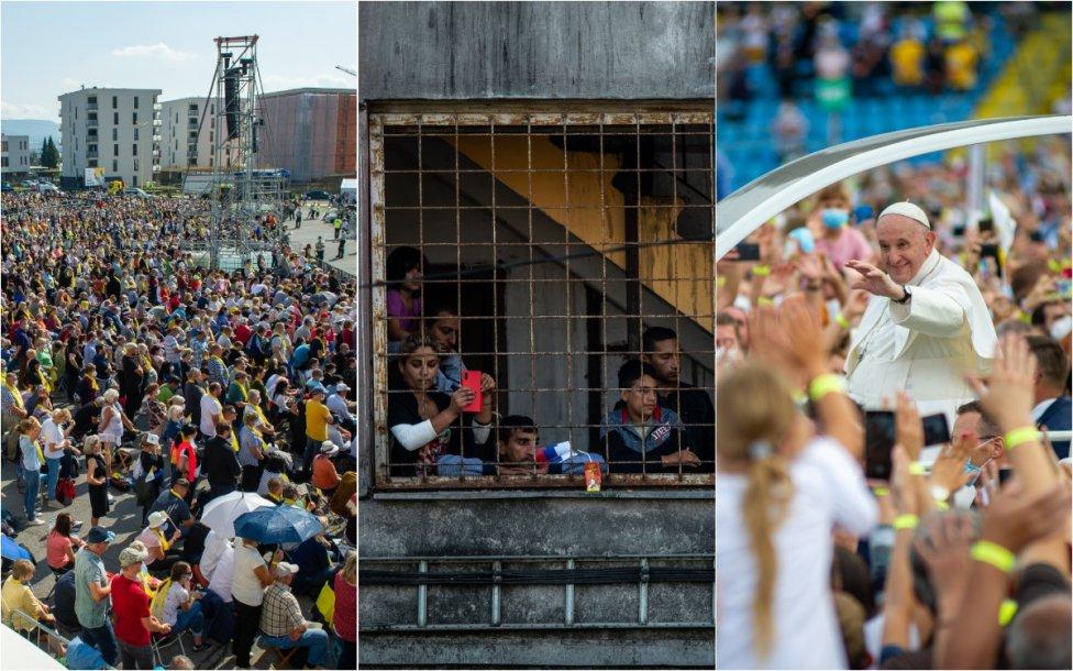 Dav ľudí v Prešove, Rómovia na Luníku IX a pápež v Košiciach. Foto N – Peter Lázár a Vladimír Šimíček