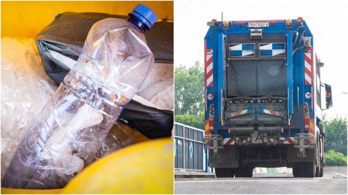 PET fľaša so zariadením na sledovanie polohy, ktorým sa podarilo odsledovať, že smetiarske autá vozia odpad tam, kde sa z neho vyrába palivo pre cementárne. Koláž a foto N - Tomáš Grečko