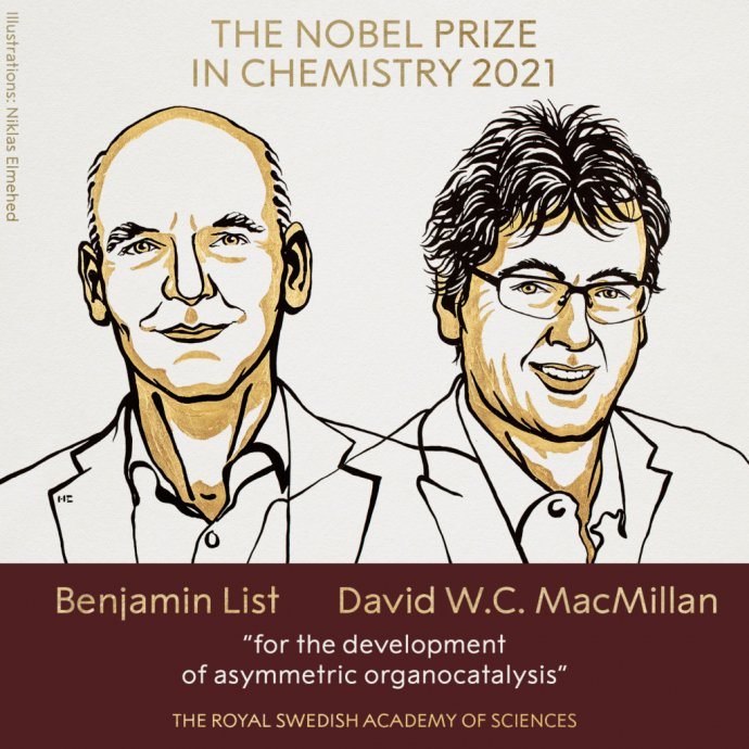 Nobelovu cenu za chémiu udelili Benjaminovi Listovi a Davidovi MacMillanovi za vývoj metód asymetrickej organokatalýzy. Zdroj - Nobelprize.org