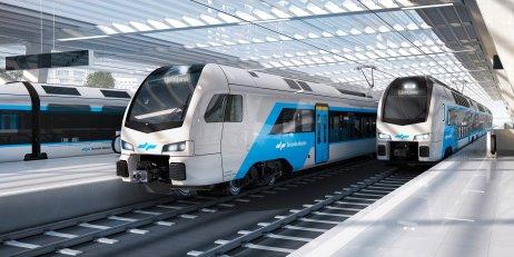 Vizualizácia súprav, ktoré si od Stadleru objednali železnice v Slovinsku: vľavo jednotka Flirt, vpravo poschodová súprava Kiss. Zdroj – Stadler