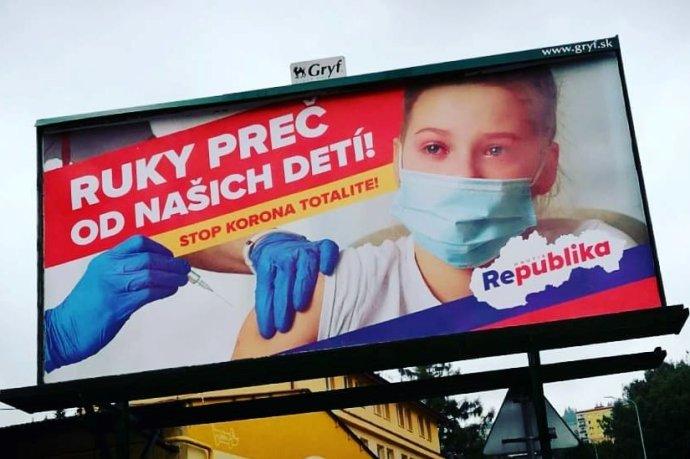 Stana Republika sa v lete rozhodla šíriť protiočkovacie posolstvo cez fotku vystrašeného dieťaťa. Foto - FB Milan Uhrík