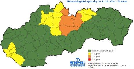 Meteorológovia upozorňujú najmä na vietor na horách. Zdroj – SHMÚ
