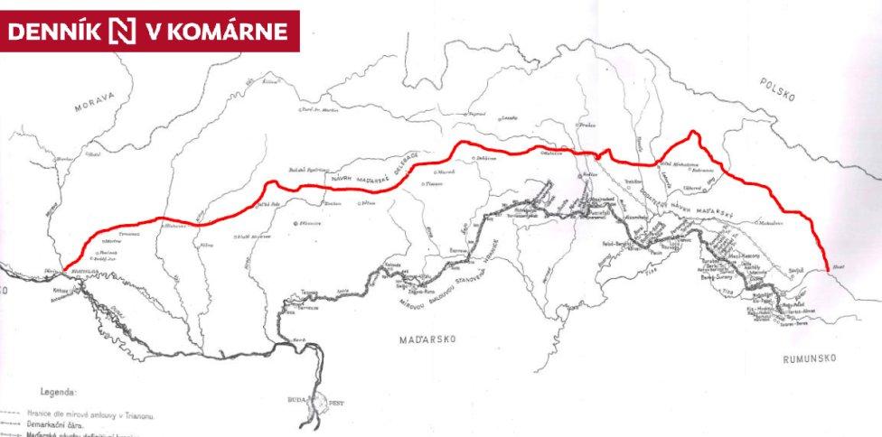 Maďarský návrh na úpravu československo-maďarskej hranice z júla 1921. Zdroj - Správa štátnych hraníc Ministerstva vnútra SR