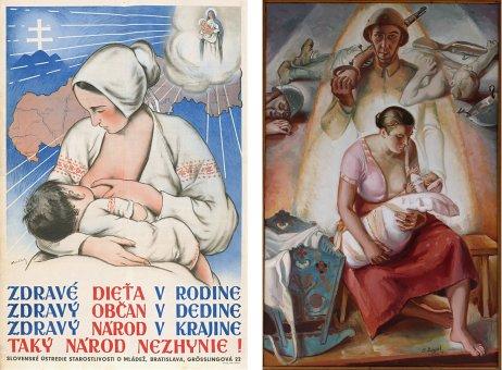 Andrej Kováčik: Zdravé dieťa v rodine…, 1940 (foto – Štátny archív, Banská Bystrica); Gejza Angyal: Vojnová matka, 1939 (foto – Ivan Čillík, NBS – Múzeum mincí a medailí, Kremnica)