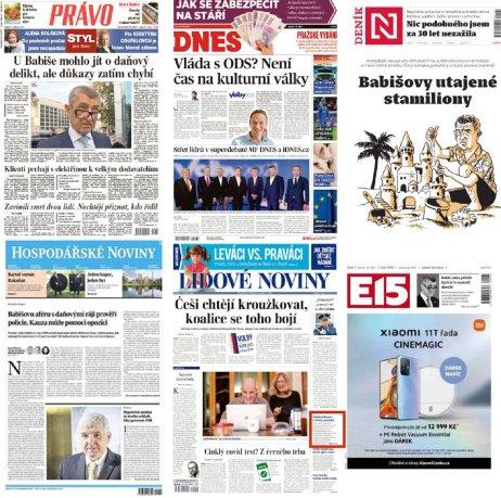 Titulné strany českých denníkov z utorka 5. októbra. Zdroj: https://twitter.com/titulkovnik