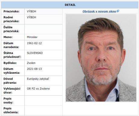 Hľadaný Miroslav Výboh. Foto – polícia